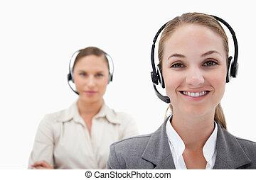 lächeln, operatoren, mit, kopfhörer