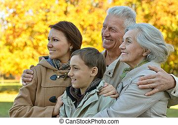 lächeln, park, familie