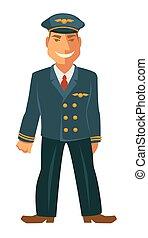 lächeln, pilot, uniform