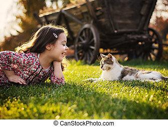 lächeln, reizend, kleines mädchen, katz