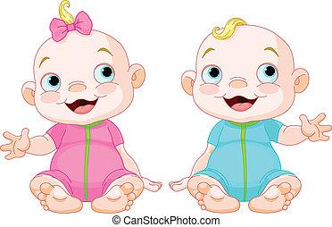 lächeln, reizend, zwillinge