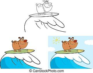 lächeln, satz, surfing., hund, sammlung