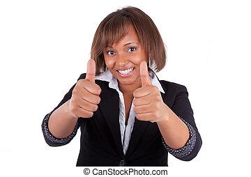 lächeln, schwarz, afrikanischer amerikaner, unternehmerin, machen, daumen hoch