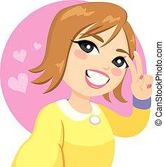 lächeln, selfie, frau, sieg zeichen