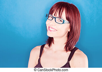 lächeln, sicher, frau, in, brille