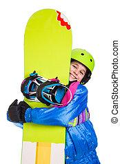 lächeln, snowboard, m�dchen