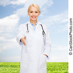 lächeln, stethoskop, weiblicher doktor