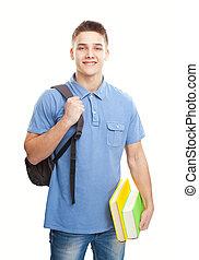 lächeln, student büchern, und, rucksack, freigestellt, weiß