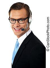 lächeln, telemarketing, männlicher manager, closeup, kugel