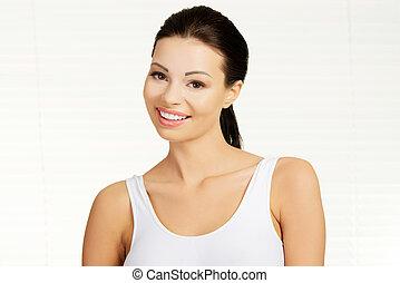 lächeln., tshirt, frau, attraktive