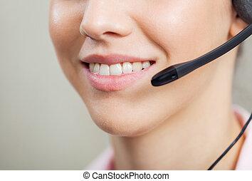 lächeln, weibliche , kundendienstvertreter