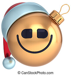 lächeln, weihnachtskugel, frohes neues jahr