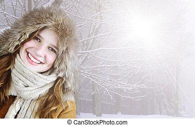 lächeln, winter, m�dchen, draußen