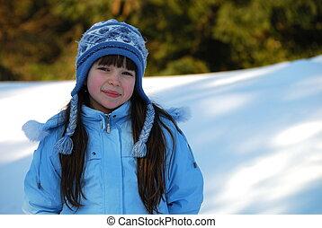 lächeln, winter, m�dchen