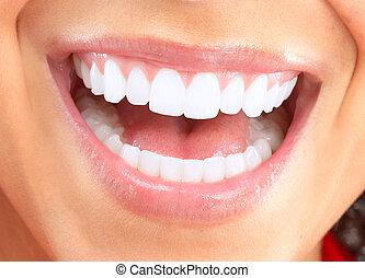 lächeln, woman., glücklich