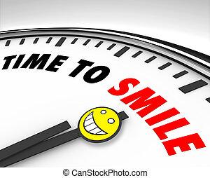 lächeln, zeit, -, uhr