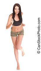 lächelnde frau, anfall, läufer, freigestellt, rennender , jogging, hintergrund, fitness, weißes, sport, modell, glücklich