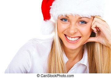 lächelnde frau, blond