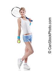 lächelnde frau, mit, a, tennis racquet, freigestellt, weiß