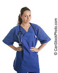 lächelnde frau, stethoskop, krankenschwester