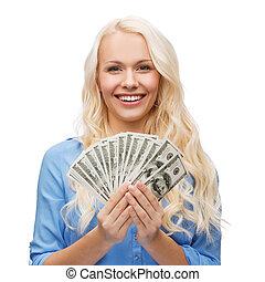 lächelnden mädchen, mit, dollar, bargeld, geld