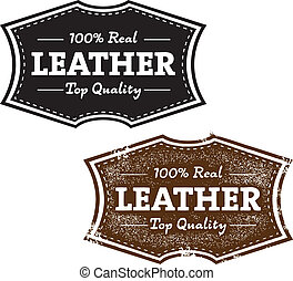 läder, årgång, 100%, produkt, stämpel