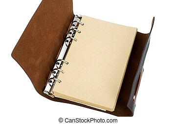 läder, återvinn, anteckningsbok, täcka, papper