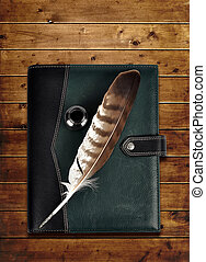 läder, anteckningsbok