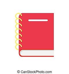 läder, bakgrund., vit, anteckningsbok, isolerat