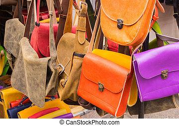 läder, basar, fingertuta, kollektion, handväskor