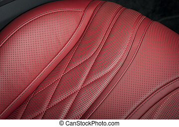läder, bil, nymodig, lopp, lyxvara, interior., röd