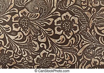 läder, blom- mönstra