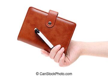 läder, brun, anteckningsbok, räcka lämna