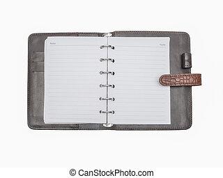 läder, brun, anteckningsbok, täcka