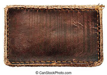 läder, brun, etikett