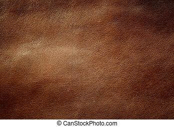 läder, brun, glänsande, texture.