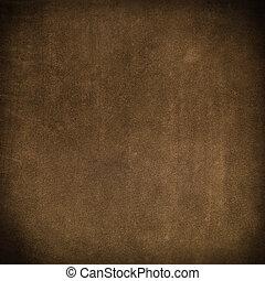 läder, brun, närbild, struktur