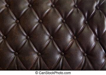 läder, brun, stoppning, genuin, mönster