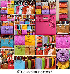 läder, collage, färgrik, handväskor