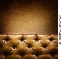 läder, copyspace., genuin, lyxvara, möblemang