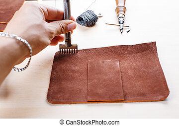 läder, crafting, redskapen, ännu, life..