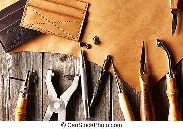 läder, crafting, redskapen