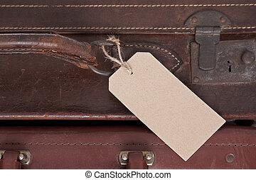 läder, etikett, gammal, tom, resväska