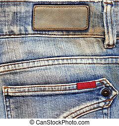 läder, etiketter, jeans, bomull