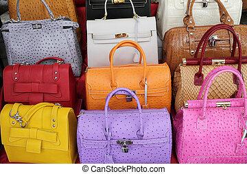 läder, färgrik, handväskor