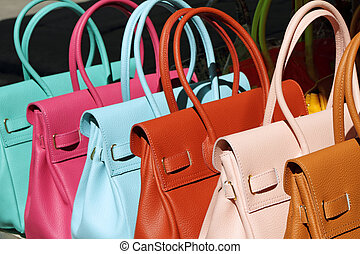 läder, färgrik, kollektion, handväskor