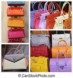 läder, fin, kollektion, färgrik, handväskor