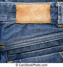 läder, grungy, jeans, etikett