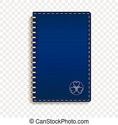 läder, ikon, stil, anteckningsbok, realistisk