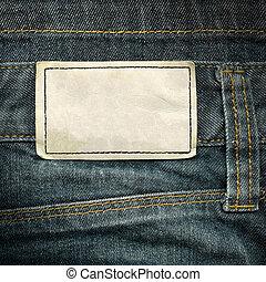 läder, jeans, etikett